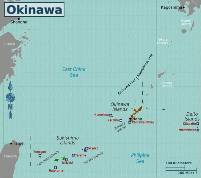 Map of Okinawa islands south of Japan