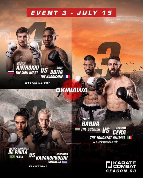 Karate Combat's Season 3 Event 3 Fight Card