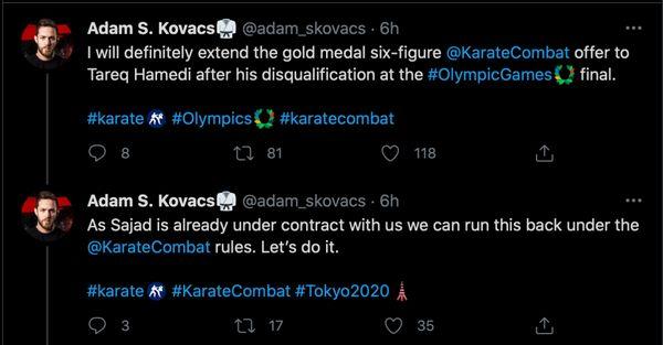 Karate Combat President Adam Kovacs tweets his offer for a Hamedi vs Ganjzadeh rematch