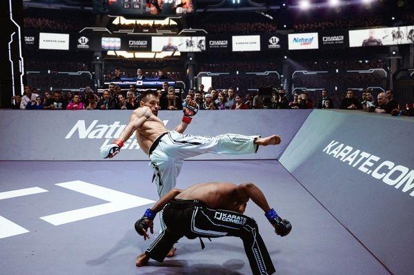 Deivis Ferreras mostly evaded Vitalie Certan's offense in Round 1 of the Karate Combat Season Finale