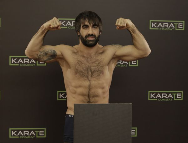 Olympian and Karate Combat fighter Rafael Aghayev at the weigh-in for Karate Combat Genesis
