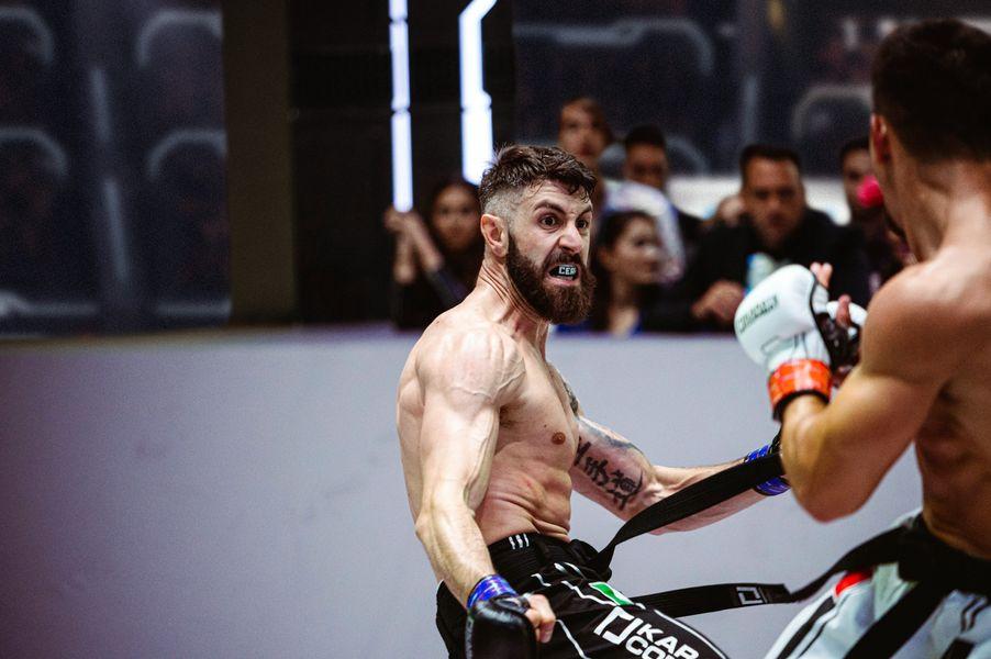 Gabriele Cera delivers a Furious Leg-kick at Karate Combat Season 3 Event 10