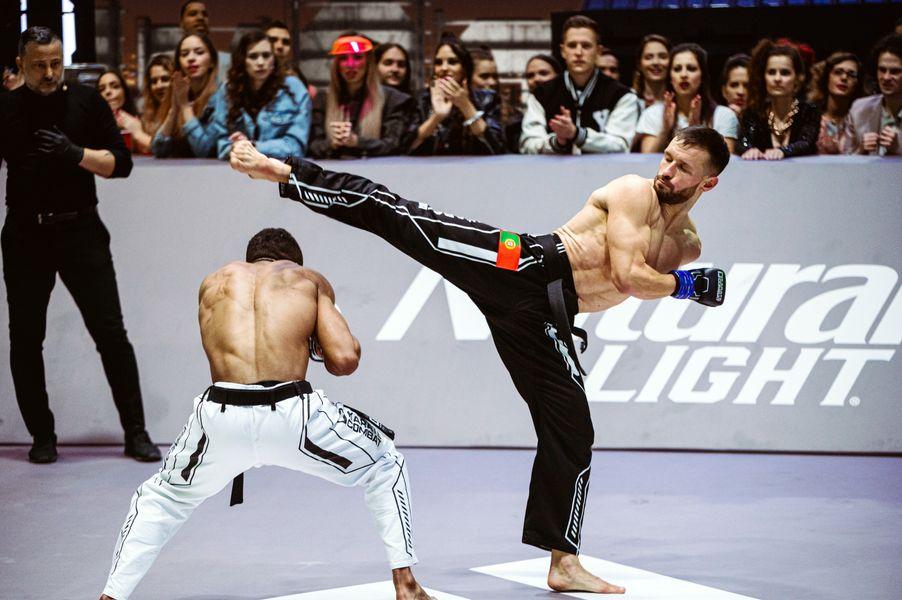 Vitalie Certan misses a beautifully presented kick at Daniel Viveros in Event 7 of Karate Combat Season 3